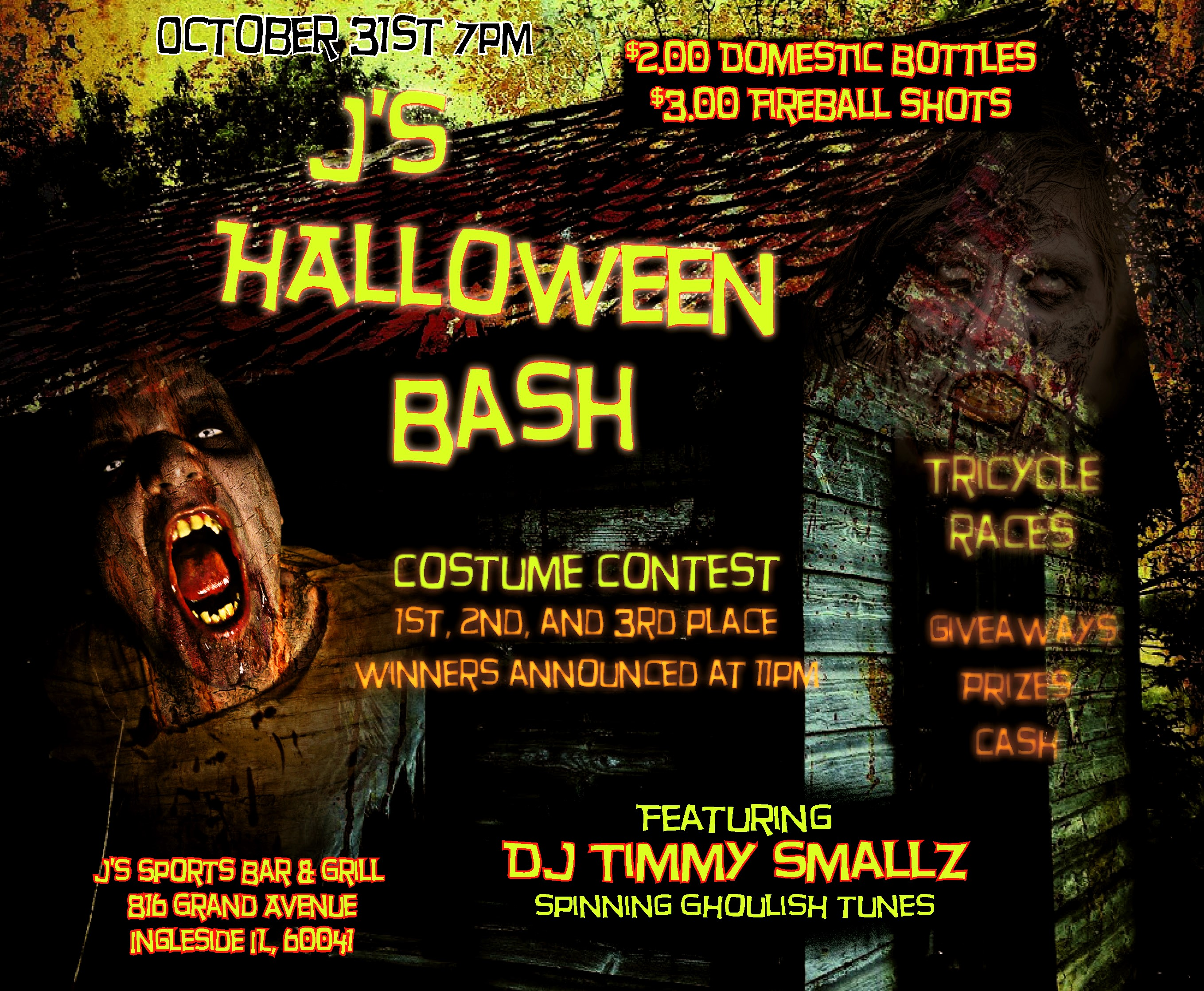 Fireball Halloween Bottle October 2020 J's Halloween BASH, 7pm | Oct 31 | J's Sports Bar & Grill
